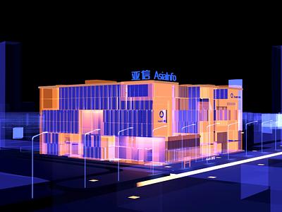 Asiainfo Building-HyperView view hyper visual bigdata blender 3d city