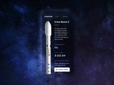 SpaceX Falcon 9 - Launch in Augmented Reality browse immersive rocket usa nasa spacex falcon space app augmentedreality animation ui motion 3d