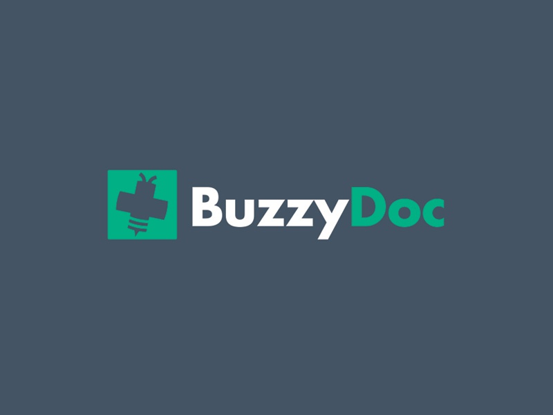 BuzzyDoc Logo buzz bee branding cross medical buzzy doc logo left plus right
