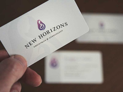 New Horizons logo & Business cards doctor obgyn matte gloss spot logo business cards