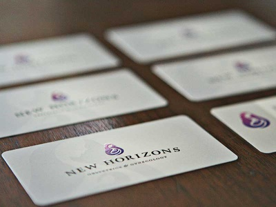 Spot Gloss! New Horizons logo & business cards doctor obgyn matte gloss spot logo business cards