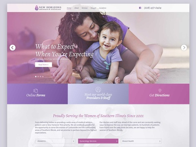 New Horizons web presence baby homepage doctor obgyn site
