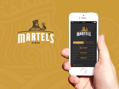 Martel's Pizza dine in pick up delivery order iphone branding pizza app
