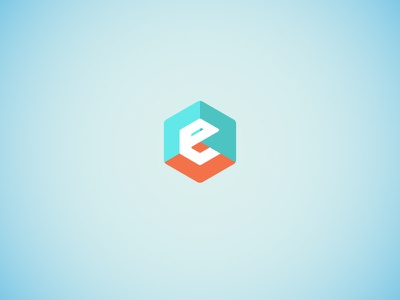 E is for icon logo room 3d hexagon e
