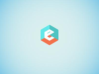 E is for icon logo room 3d hexagon e