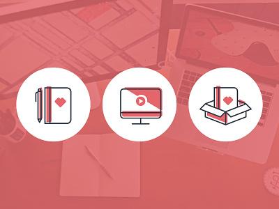 Supplemental Branding Icons gift box video pen sketchbook notebook
