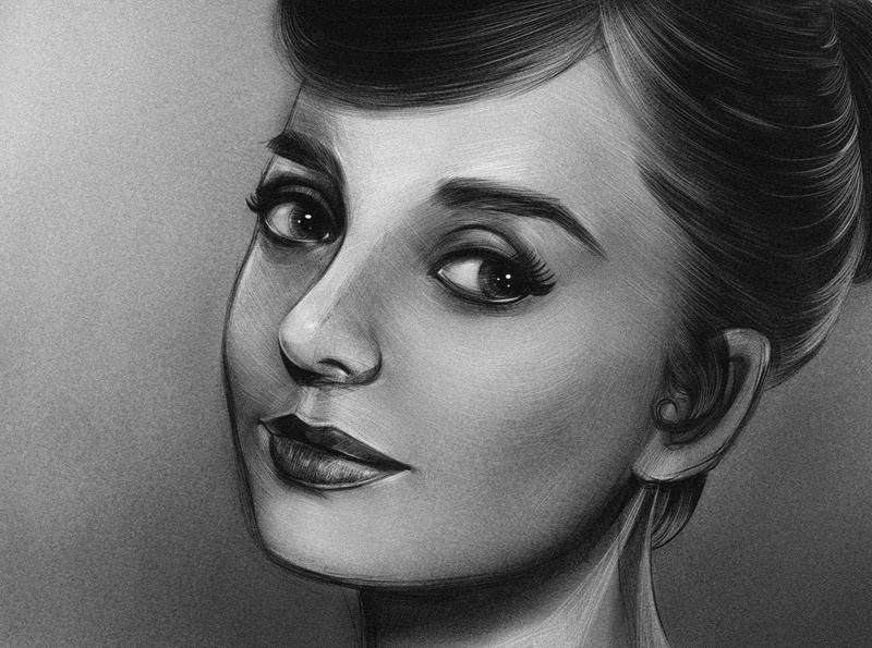 Audrey Hepburn portrait illustration woman photostudy illustration character painting drawing audrey goldenhollywood actress audrey hepburn