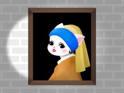 Girl with Pearl Earring girl illustration cat illustration illustration art dutch golden age character drawing girl with pearl earring girl cat johannes vermeer artwork painting art illustration