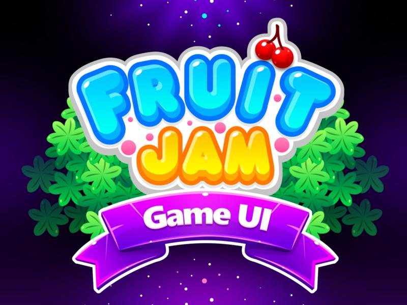 Fruit Jam Game Title mobile app mobile game mobile illustration game ui fruitjam fruit logo match 3 game title design title game design game art game title typography design logo branding ui game