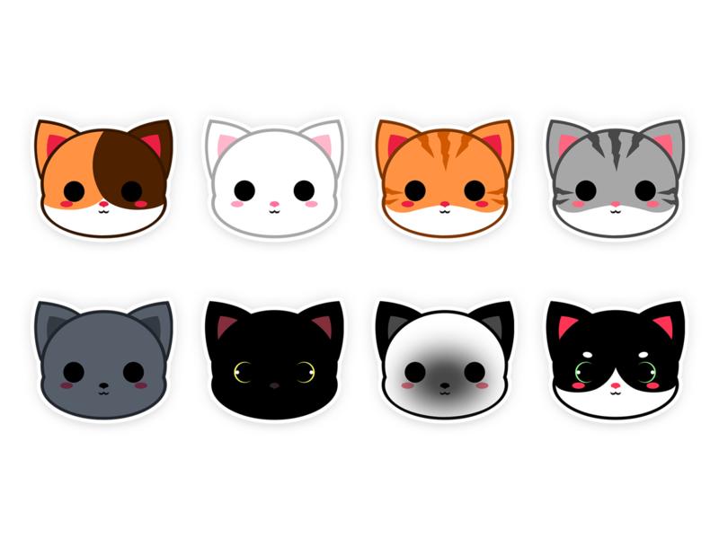 Cute Cat Stickers Collection characterdesign chibi kawaii cute animal cute character cute cat character teepublic teepublic t shirts icon cat icon cat illustration cat illustration