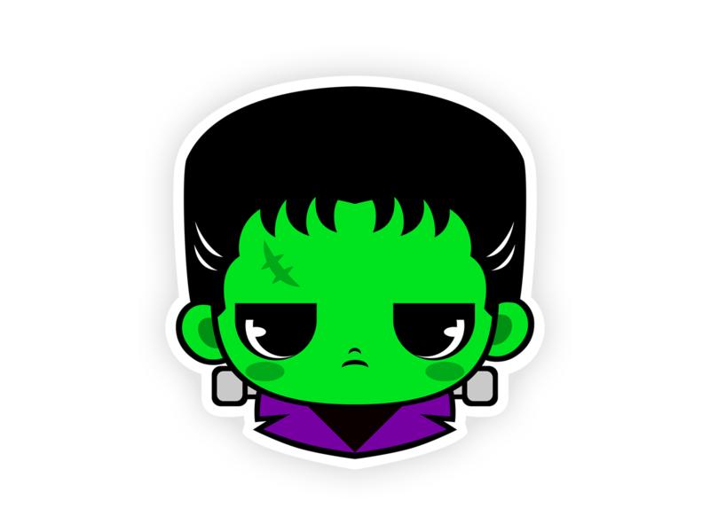 Cute Frankenstein's Monster Sticker printing t shirt art haloween villain kawaii chibi cartoon sticker classic monster characterdesign character illustration teepublic t shirts teepublic monster frankenstein