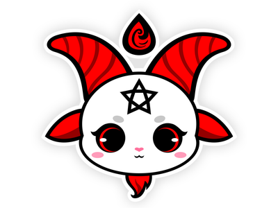 Cute Baphomet kawaii chibi cute deity god illustration art characterdesign character illustration knight templar sticker knight spooky monster satanic evil demons devil satan baphomet