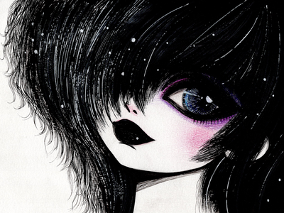 Big Eyes Girls Drawings Collection in 2020 teenager sad face emo style goth style handdrawn big eyes sadness character drawing ink girl illustration girl blackandwhite inking portrait art portrait illustration art illustration
