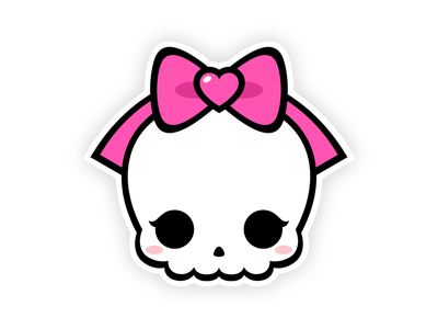 Cute Skull and Pink Bow tshirt sticker printing character design illustration pink ribbon pinky pink bow bow spooky season cute monster cute skull horror halloween monster death spooky skeleton skull