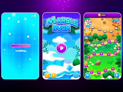 Marble Game:  Loading, Mainmenu, Map Screen mobile ui mobile game mobile design mobile app game uiux illustration icon play button loading screen loading bar loading map main menu uidesign ui game design game art game ui game