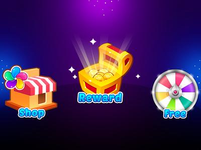 Marble Game: Map UI Buttons uidesign icon design treasure lucky wheel shop button button design illustration game uiux icon game ui ui button game art game design game