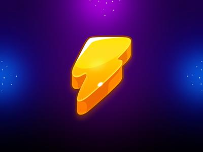 Marble Game: Thunder Icon lighting icon thunder icon game art game design match 3 ui game uiux game ui game icon illustration