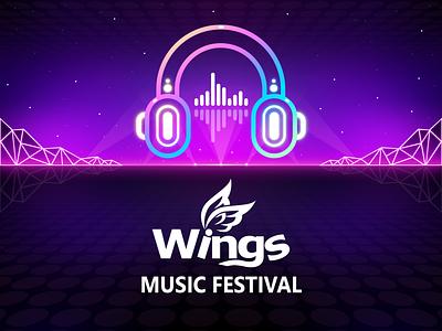 Wingsmob Music Festival Logo edm style retro vintage logo design festival logo music logo music festival festival music weekly warm up game graphic design logo branding illustration