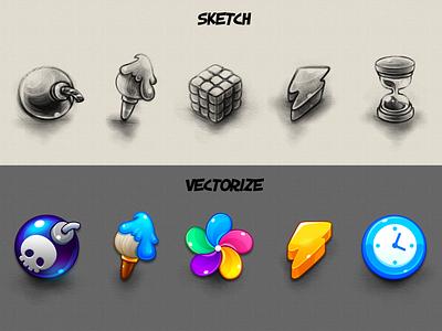 Marble Game: Icon's Sketch brush icon pinwheel icon bomb icon clock icon thunder icon sketch game icon icon design game design game art design ui game uiux game ui icon game illustration