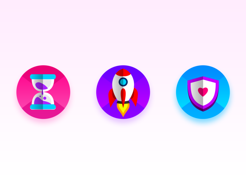 Piano Project: Booster purple blue pink sand clock shield rocket melody item booster piano game uiux music app piano app game uiux game illustration design icon