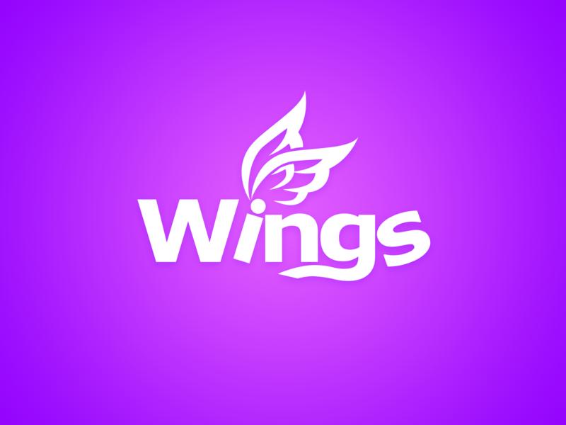 Logo Wingsmob mobile game studio design femine game company logo game purple white wings wing icon branding logo