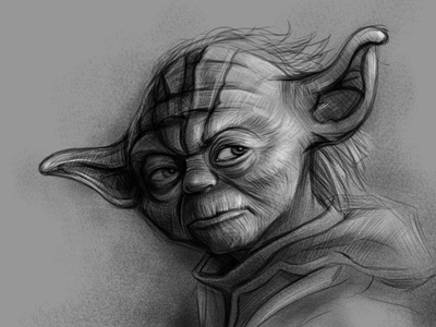 Photo Study Master Yoda may the force be with you master yoda pencil drawing graphite drawing fineart creature character galaxy space alien starwar starwars jedi yoda illustrator portrait art portrait illustration