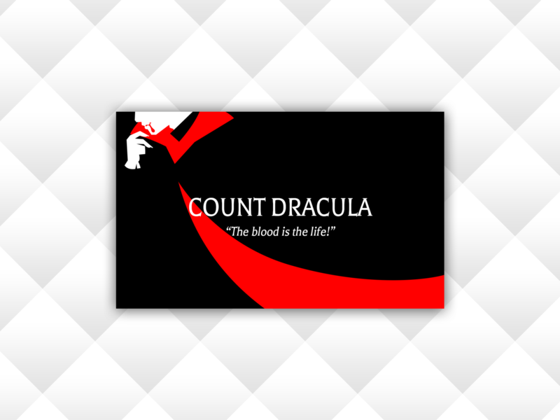 Weekly Warm Up No 2 - Business Card for Count Dracula icon logo bloody bubble tea count dracula transylvania vampire dracula count villain superhero weekly challenge weekly warm-up business card business card design