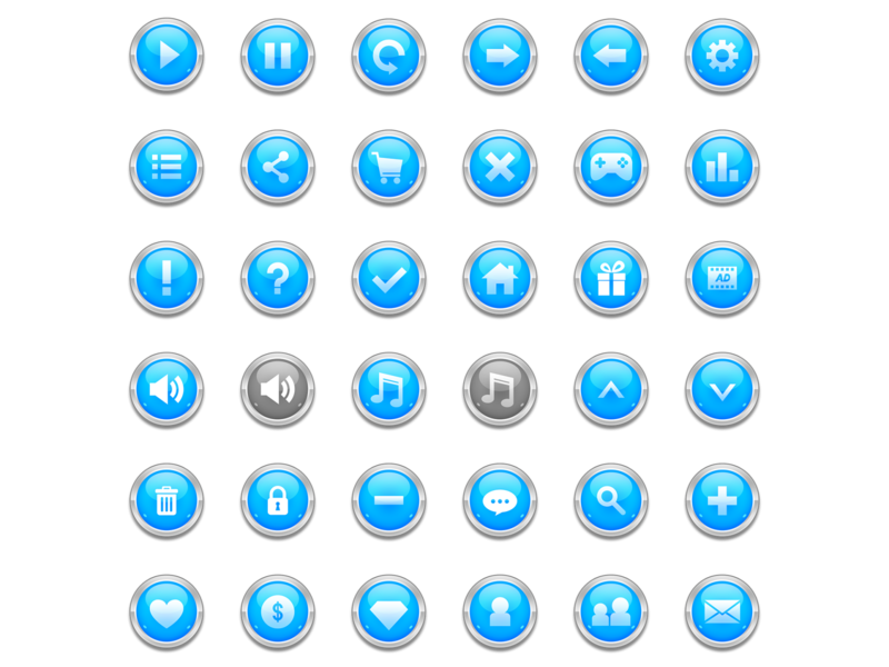 Glossy Blue Game Button mail button pause button game mobile free free psd app ui app design game ui glossy button game art game design game icon icon app button game button mobile ui uiux ui mobile