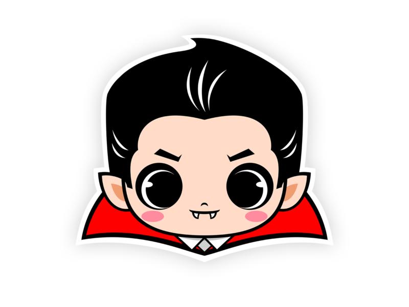Cute Count Dracula Sticker stickers t shirt design tee shirt teepublic villain classic monster halloween monster vamp count dracula chibi cartoon vampire dracula character sticker illustration