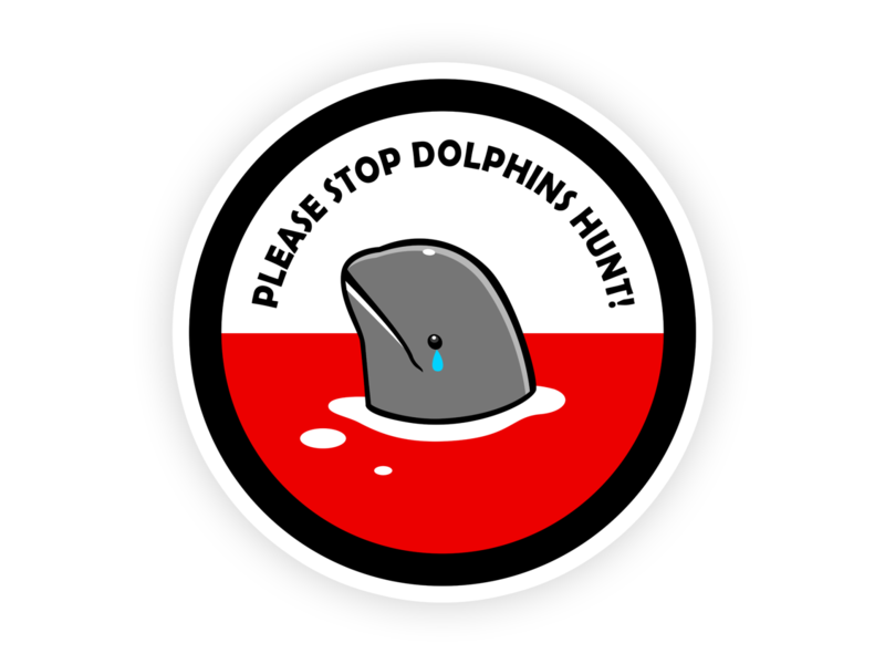 Please Stop Dolphins Hunt japanese culture taiji japan baby melon head dolphin printing branding stop slaughter dolphin stop killing dolphins stop abuse animals tshirt design teepublic tshirt sticker illustration fish dolphin