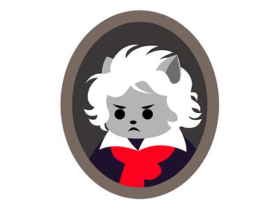 Beethoven Cat illustrator character design character piano musical pianist beethoven cat vector illustration