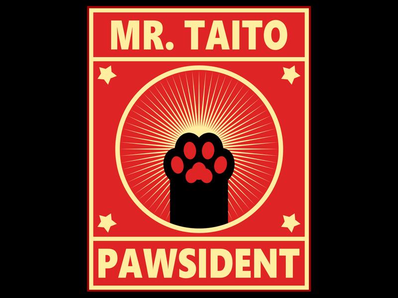 Weekly Warm Up No 7: Socialist Pawsident socialist communism socialism propaganda print paw cat brand weekly challenge weekly warm-up president campaign branding logo illustration