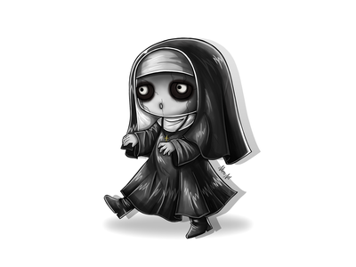 Weekly Warm Up No 9: Cute Evil Nun zombie evil nun horror scary evil weekly challenge weekly warm-up valak nun halloween character design illustrator illustration