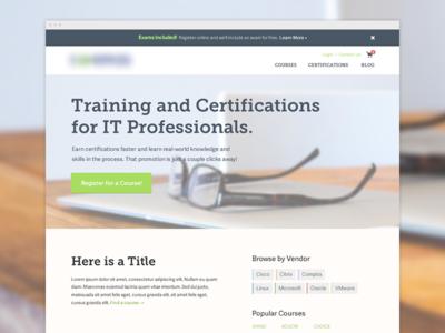 Training Homepage homepage website clean hero