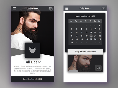 Daily Beard clean visual daily date sketch ios app clean design grayscale beard calendar