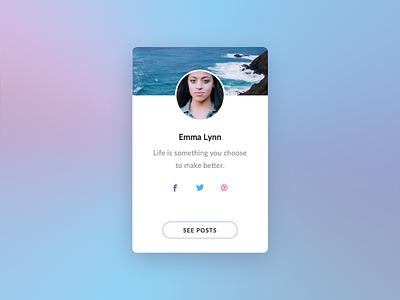 Social Profile posts user widget ux ui ocean light white social profile user interface
