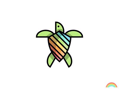 🌈 Rainbow Turtle colorful logo icon animal turtle rainbow