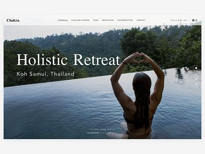 Chakra. Holistic Retreat Concept 🌊 travel retreat ui interface hero header web
