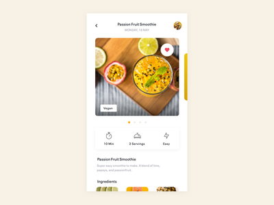 Smoothie Concept playful clean simple fruit smoothie food sketch design colorful app ios ui