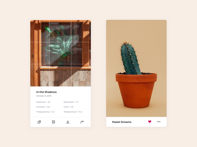 Plant Life🌵 clean ui neutral favorite edit photo app photo editing plants mobile sketch design colorful app ui ios