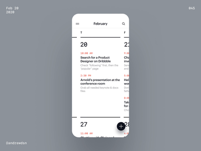 Calendar app agenda organizer events productivity calendar interactive futuristic futurism brutal mobile ios app