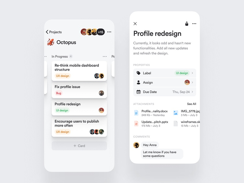 Kanban board — mobile app jira scrum atlassian mobile ios app library components design system backlog in progress wip trello notion roadmap project board kanban
