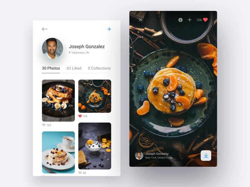 Unsplash App Concept clean app application ux ui profile photographer photo unsplash