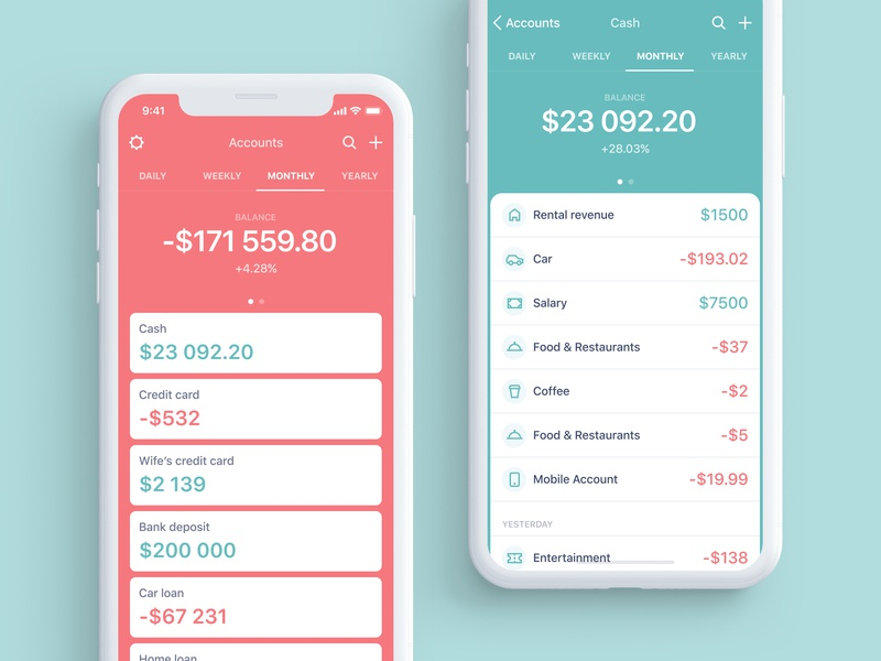 Personal Budget App icons iphonex apple guidelines track red green ios app