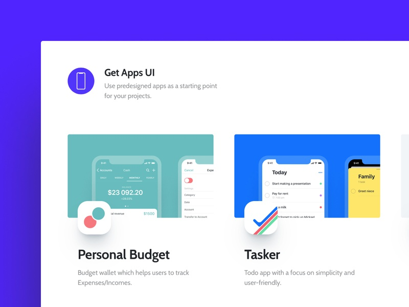 Get Apps UI launched 🎉 tasks task personal budget predesigned copy download blue purple freebie free figma mobile ui logo ios todo app