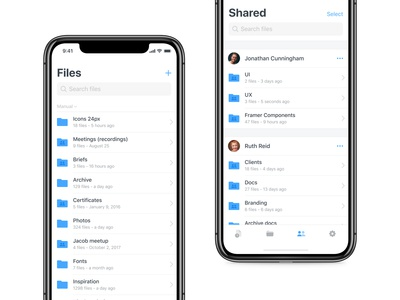 Files & Shared screens — Shary app