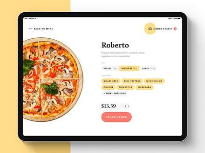 Piccolo — A Self-Order App ux ui startup self order restaurant pizza modern minimal kiosk ipad pro ipad ios food design clean branding app