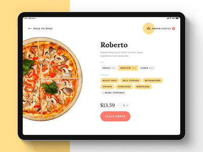 Piccolo — A Self-Order App ux ui startup self order restaurant pizza modern minimal kiosk ipad pro ipad ios food design clean branding app