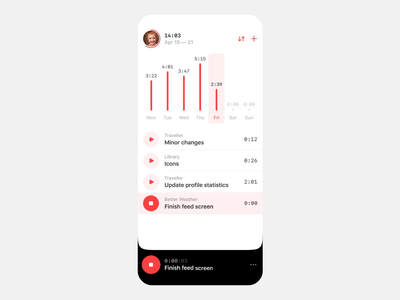 Add new task — Time Tracker intuitive project red prototype apple animation white clean ui productivity task interactive mobile ios app