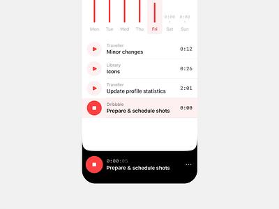 Start tracking already exist task — Time Tracker intuitive minimalistic minimalism minimalist minimal red apple prototype animation white clean ui productivity todo task mobile ios app interactive
